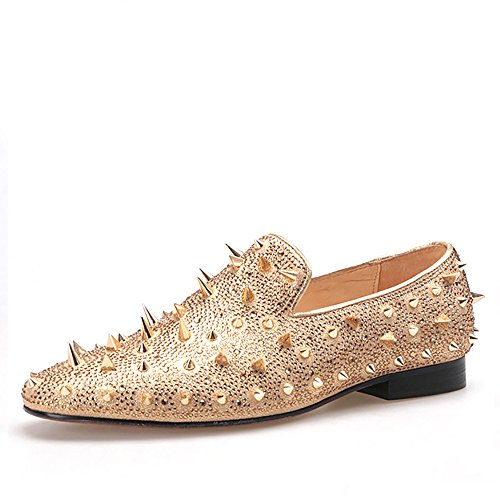 HI&HANN Spikes and Diamonds Men's Glitter Leather Shoes Slip-on Loafer Round Toes Smoking Slipper-11-Gold by HI&HANN