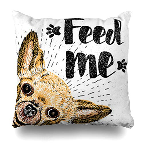 ArtsDecor Throw Pillow Covers Confetti Feed Me Lettering Dog Scriptions for Doggy Pet Lovers Brush Calligraphic Demanding Phrase Home Decor Cushion Square Size 18