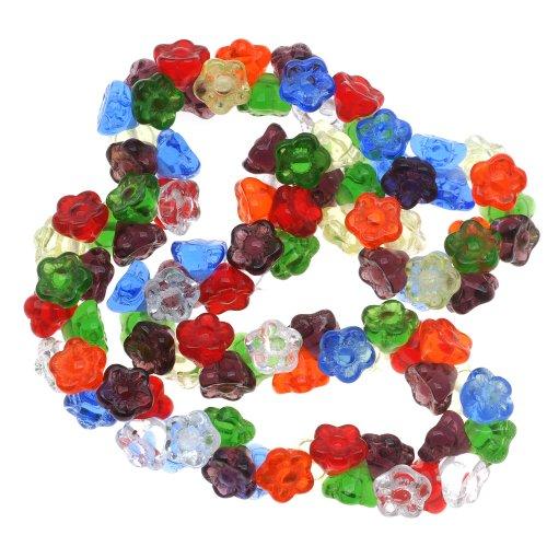 Beadaholique Czech Glass Flower Drops 100-Piece Bead, 7mm, Rainbow Color (Czech Flower Beads)