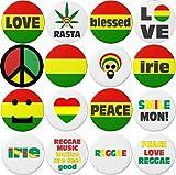 "Set 16 Jamaican Reggae Ska Rastafarian Irie Peace Love Themed 1.25"" Buttons Pins"