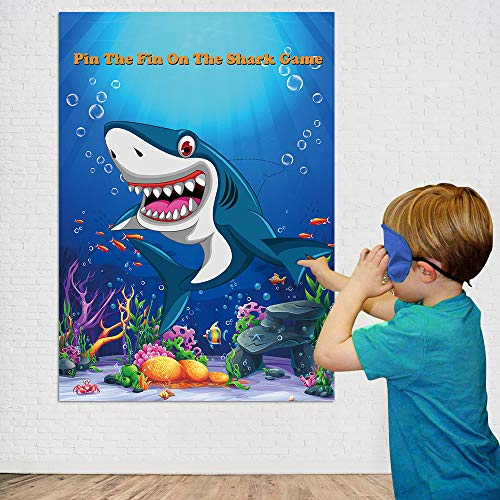 Morinostation Pin The Fin On The Shark Game Birthday Party Favor Games Baby Shark Party Supplies Decorations - 24 Fins -
