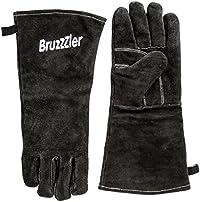 Bruzzzler Guanti per il grill - Set di guanti in pelle con logo ricamato, misura universale