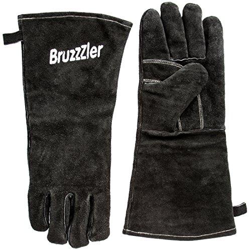 Bruzzzler Grillhandschuhe - Lederhandschuhe-Set lang mit gesticktem Logo, Universalgröße