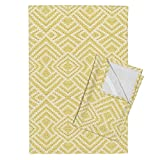 Roostery Field Tea Towels Wheat Fields in Mirror Repeat by Anniedeb Set of 2 Linen Cotton Tea Towels