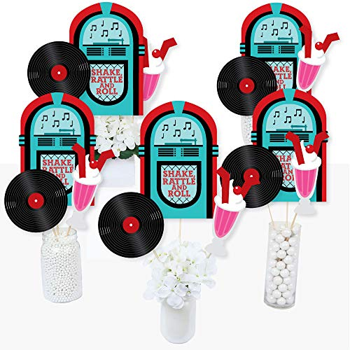 50's Sock Hop - 1950s Rock N Roll Party Centerpiece Sticks - Table Toppers - Set of 15