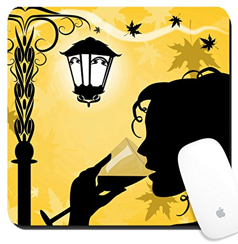 Luxlady Suqare Mousepad 8x8 Inch Mouse Pads/Mat design IMAGE ID 31357923 Silhouette of a woman with a - Silhouette Cheap Glasses