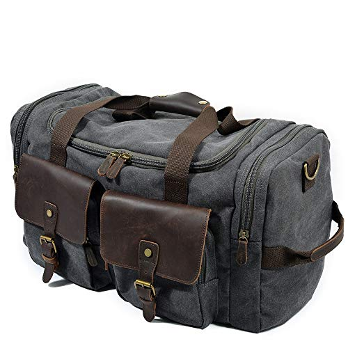 (Canvas/Leather Messenger Bag Oversized Canvas Leather Trim Travel Tote Shoulder Handbag Weekend Bag Dark Grey Business Travelling Slim Bag (Color : Dark Grey, Size : (LHW) 533023cm))