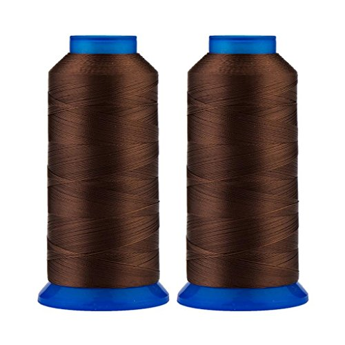 Selric [3000 Yards / 26 Colors Available] Pack of 2 UV Resistant High Strength Polyester Thread #69 T70 Size 210D/3 for Upholstery, Outdoor Market, Drapery, Beading, Purses, Leather (Coffee)