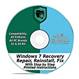 Kyпить Windows 7 Repair & Recovery Disk 32 & 64 Bit DVD Reinstall Reboot Fix ALL Brands HP, Dell, Asus, Toshiba, etc. Laptop / Desktop Computers [Instructions & Support] на Amazon.com