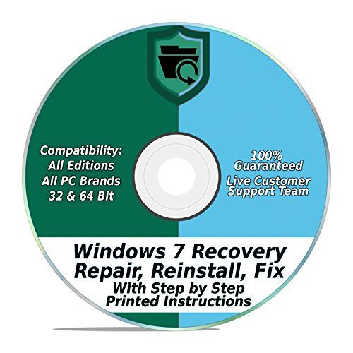 Compatible With Windows 7 Repair & Recovery Disk 32 & 64 Bit DVD Reinstall Reboot Fix ALL Brands HP, Dell, Asus, Toshiba, etc. Laptop / Desktop Computers [Instructions & Support]