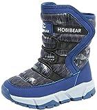 VECJUNIA Boy's Girl's Fashion Thicken Snow Boots Waterproof Winter Running Shoes (Blue, 5 M US Big Kid)