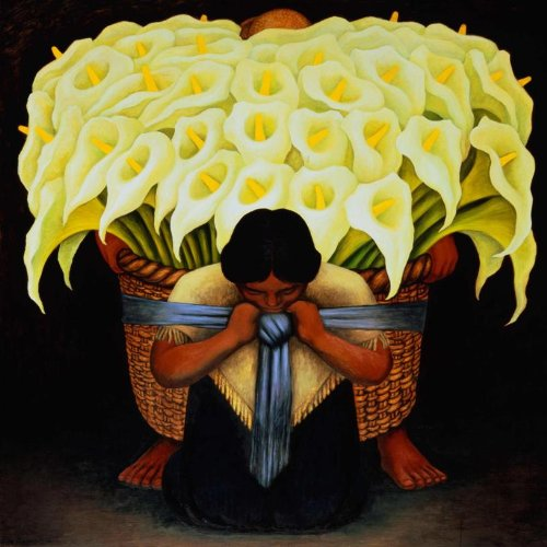 Buyartforless CAN MUS202X 12x12 1.5 Gallery Wrap The Flower Seller by Diego Rivera Canvas Art Print Poster, 12