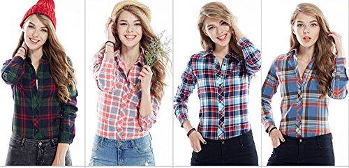ACVIP Chemise Longue Outwear 13 Jaune en Couleurs Carreaux Bleu Revers Blouse Simple Casuel Manche Fille Femmes tudiante Coton rqxBnwtr