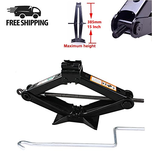 2 Ton Scissor Jack Manual Wind Up for Car Tires Lifting 385mm/15 Inch with Speed Crank Handle