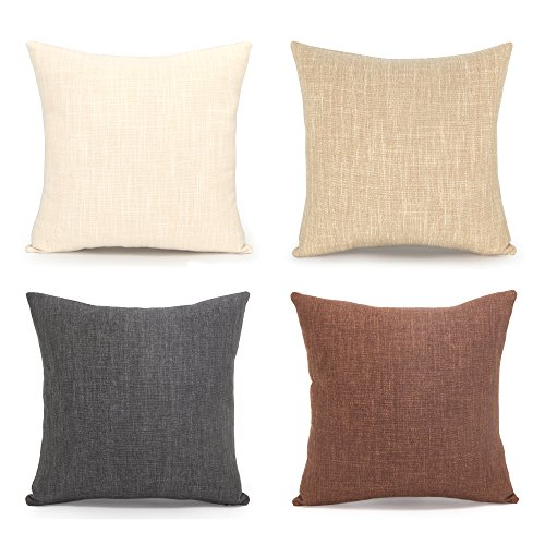 Acanva Decorative Accent Throw Pillow Cushion, with Pillowcase Cover Sham & Insert Filling, Large Size, Solid Color, Set of 4, Charcoal black, ivory white, beige, deep brown (Throws Sofa Large)