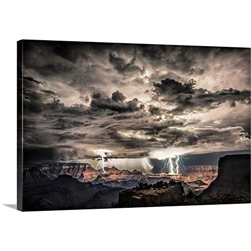 (Scott Stulberg Solid-Faced Canvas Print Wall Art Print Entitled Lightning Storm at Night Over The Grand Canyon 48