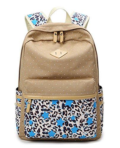 DATO Bolso Mochilas Escolares Estrellas y Leopardo Mochila de Lona para Mujer Moda Juvenil Grand Capacidad Viaje Mochilas Tipo Casual Backpacks Khaki