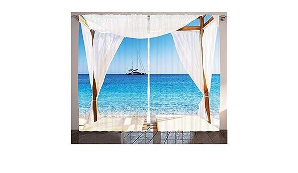 WKJHDFGB Balinesas Cortinas De Playa A Través De Una Cama Balinesa Sol De Verano Cielo Despejado Luna De Miel SPA Natural Imagen Sala De Estar Dormitorio Decoración,215X200Cm: Amazon.es: Hogar
