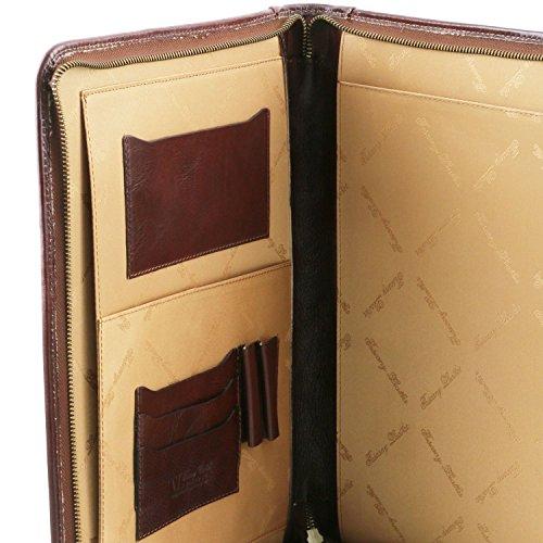 XIV cerniera Portadocumenti Testa di Luigi Moro con Rosso Leather Tuscany XAvEx