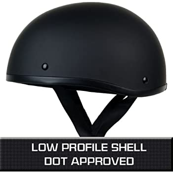 PGR B03 MATTE BLACK LOW PROFILE OLD SCHOOL SKID LIDS HARLEY STYLE DOT APPROVED MOTORCYCLE HALF HELMET CHOPPER CRUISER CUSTOM SHORTY (XL)