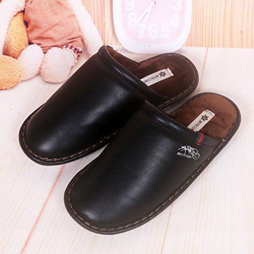 Fankou pantofole uomini e donne matura Impermeabili di cotone pantofole pantofole ,39/40, nero
