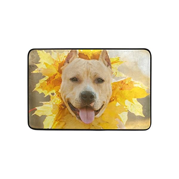 My Daily American Staffordshire Terrier Dog Wreath Shower Curtain 60 x 72 inch with Bath Mat Rug & Hooks, Waterproof Polyester Decoration Bathroom Curtain Set 5