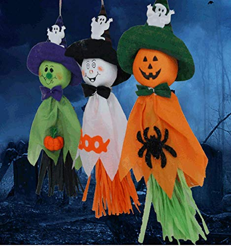 Annymall 3 Pack - Halloween Party Decoration Hanging Ghost Windsock, Spook Pumpkin Fly Witch Scarecrow Doll for Front Yard Patio Lawn Garden Party Decor and Holiday Decorations Themed -