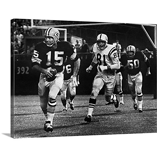 Bart Starr of The Green Bay Packers Against The Baltimore Colts Canvas Wall Art Print, 16
