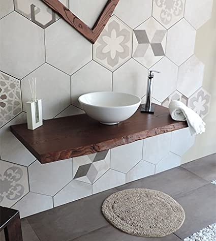Mensola piano d\'appoggio porta lavabo in legno massello,misura cm ...