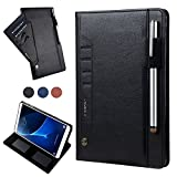 iPad Pro 10.5 Cover,Book Style Cover with Pencil Holder, Card Slots, YiMiky Premium PU Leather Business Smart Folio Durable Protective Case for Apple iPad Pro 10.5-Black