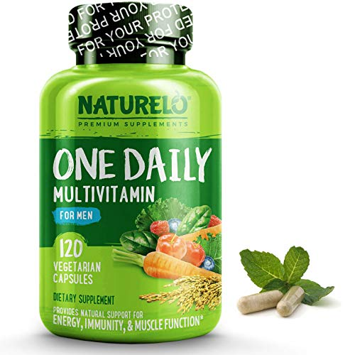 NATURELO One Daily Multivitamin for Men - with Whole Food Vitamins, Organic Extracts - Natural Supplement - Best for Energy, General Health - Non-GMO - 120 Capsules | 4 Month Supply (Best Organic Whole Food Multivitamin)