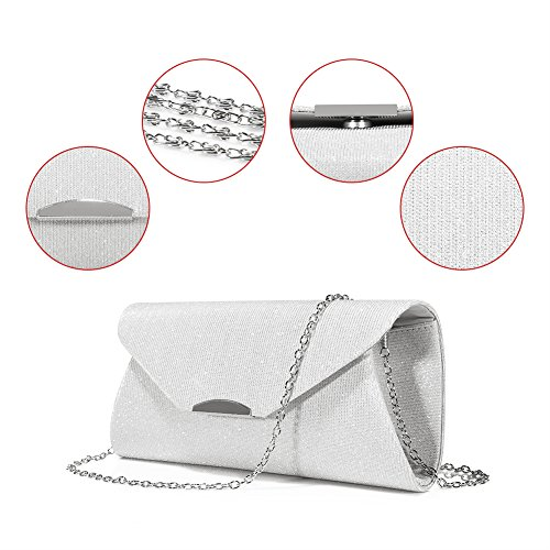 Evening Bag Clutch Handbags Envelope Purse for Women Flap Glitter with Chain Strap for Wedding Party Silver