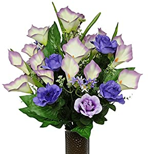 Purple Rose and Calla Lily Mix Artificial Bouquet, featuring the Stay-In-The-Vase Design(c) Flower Holder (MD1136) 7