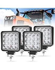 LITE-WAY 4 Pcs LED Work Light - 4 Inch 8000LM Flood LED Light Bar for Tractor Offroad 4WD Truck ATV UTV SUV Driving Lamp Daytime Running Light, Come with Mounting Bracket, IP 67 Waterproof