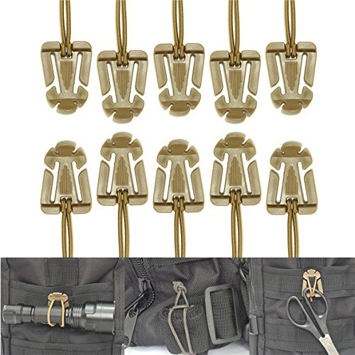 SWEETFUN Tactical Gear Clip Molle Web Dominators for Outdoor Hydration Tube Backpack Straps Management 10 Pack (Strap Clip Attachments)