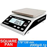 Hochoice Precision Scale Electronic Precision Digital Laboratory Analysis Balance Jewelry Scale(Square pan) (Max Capacity:2000g, Accuracy:0.1g)