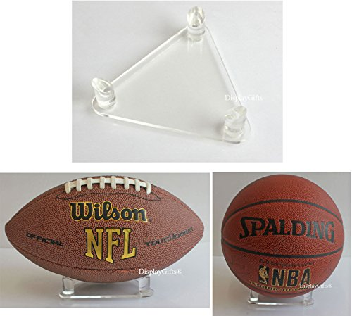 Top Stage Deluxe Acrylic Ball Stand - Holds Football, Basketball, Volleyball, Bowling Ball or Soccer Ball - Display Stand or - Display Acrylic Ball