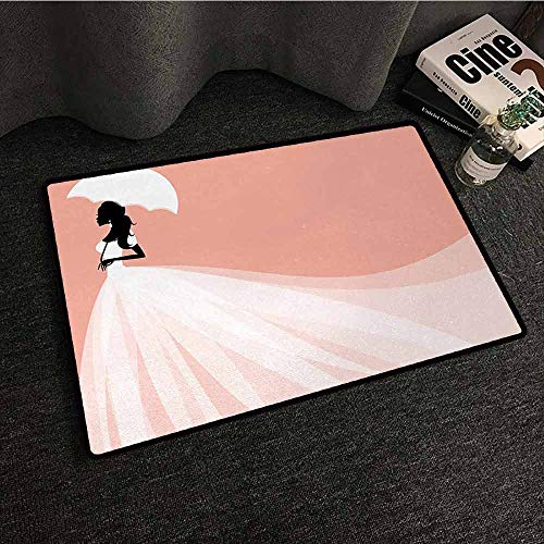 - SONGDAYONE Decorative Door mat Bridal Shower Bride in Abstract Romantic Wedding Dress with Umbrella Artwork Print for Bathroom Salmon and White,W35 xL47