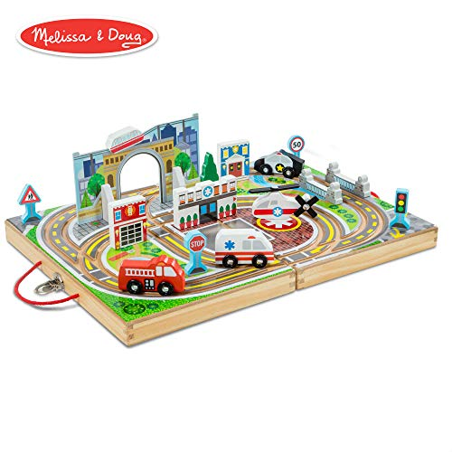 (Melissa & Doug Take-Along Town (Wooden Portable Play Surface, 18 Pieces))