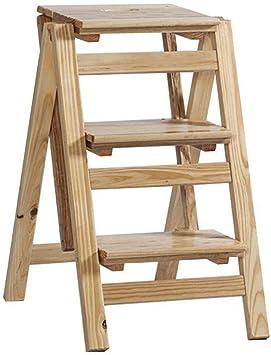 ZfgG - Escalera plegable de 4 peldaños (madera), multicolor: Amazon.es: Bricolaje y herramientas