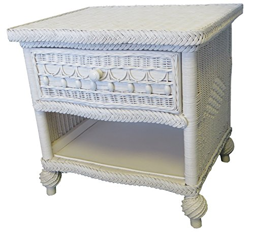 Spice Islands Classic Night Stand, Null, White (Rattan Table Bedside Classic)