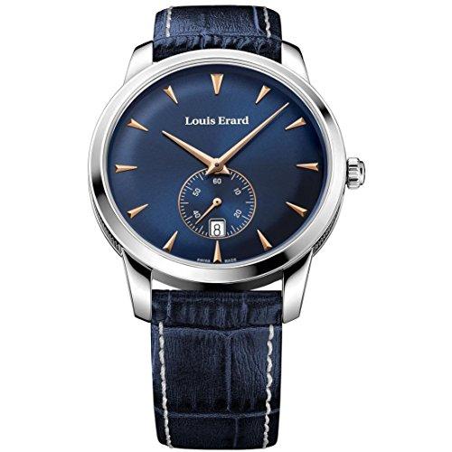 Louis Erard Men's Heritage 40mm Blue Leather Band Steel Case Quartz Analog Watch 16930AA15.BEP102