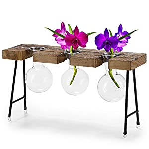 MyGift 3-Glass Bulb Clear Vases with Rustic Wooden Planter Bench Stand 19