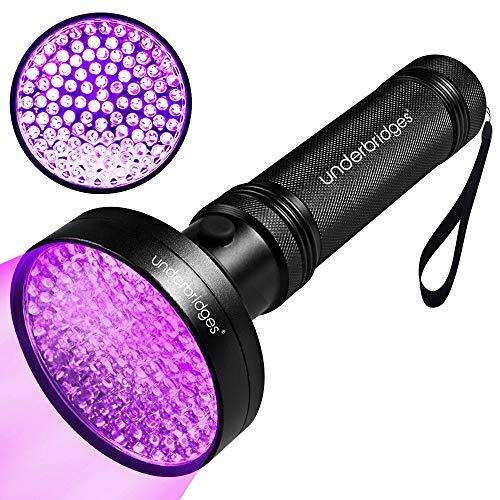 UNDERBRIDGES UV Flashlight Black Light UV Lights,100 LED 395 nm Ultraviolet Blacklight Detector for Dog Urine,Hotel Rooms,Pet Stains and Bed Bug. (Update 100 ()