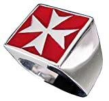 Mens Signet Iron Cross Ring Maltese Crusader Cross in Sterling Silver 925 With Red Enamel - Size 14