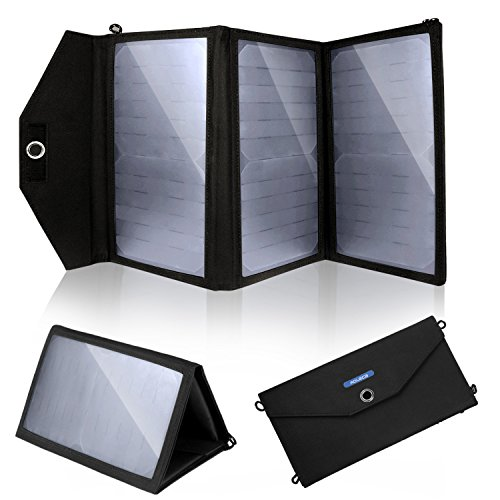 Solar Charger, Aoleca 20W Foldable Solar Panel with 2-Port USB Charger for all USB device