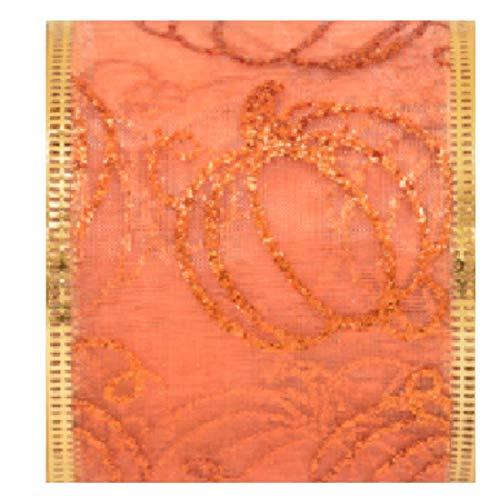 Orange Wire-Edged Ribbon with Glittered Pumpkin Design 2.5 inch x 108 inch 9 Feet