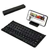 Folding Bluetooth Keyboard Wireless Mini Keyboard with Stand Portable Rechargeable for IOS Android Windows Black by FREESOO