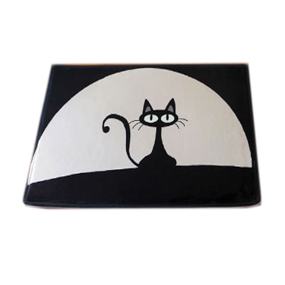 Black Cat Flannel Water-absorbing Bath Rug Non-Slip Bath Mat (4060CM)