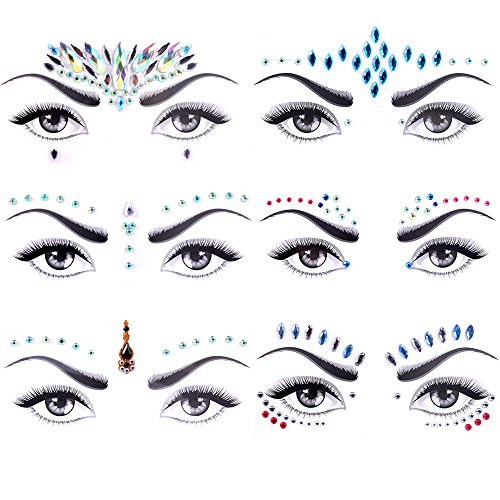 Face Jewels Glitter, Lady Up 6 PCS Face Jewels Tattoo Set Mermaid Face Gems Rhinestones Eyes Body Stickers Bindi Crystals Glitter for Christmas Party Festival